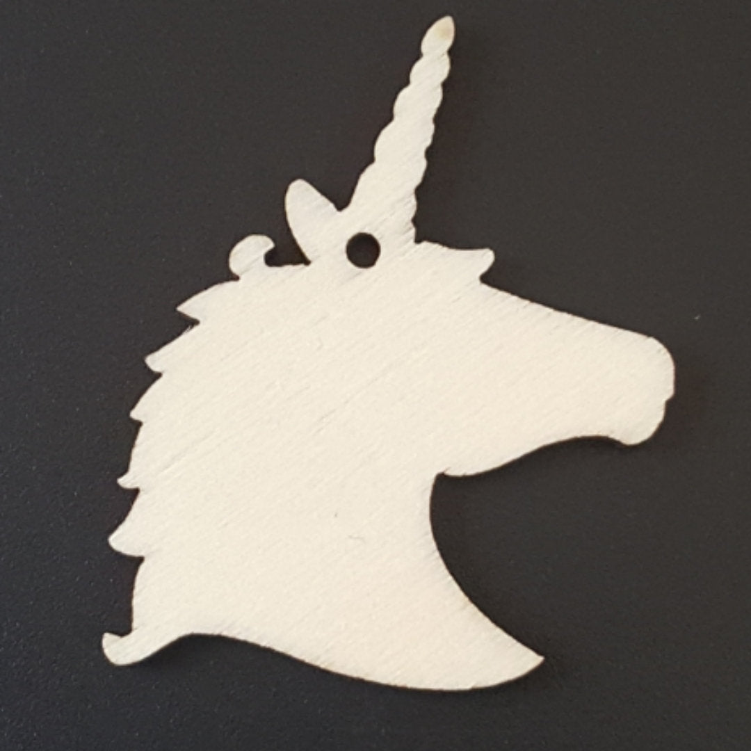 UNICORN HEAD Unfinished Ready to Decorate Natural Wood Cutout