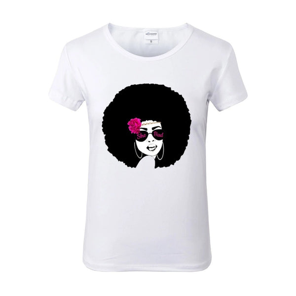 She Bad Afro Sunglasses Pink Flower White Crew Neck Tshirt