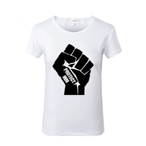 PROTECT HIM Power Fist White Crew Neck Tshirt