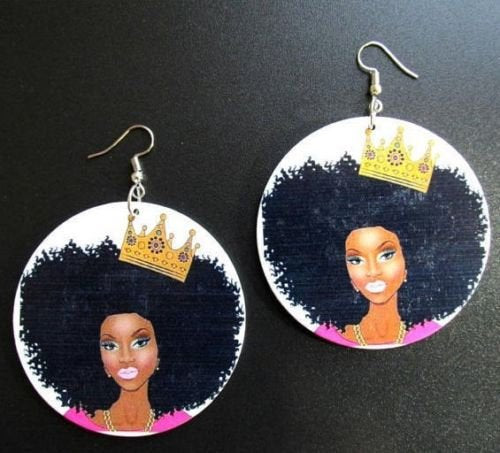 Crowned Queen Statement Dangle Wood Earrings