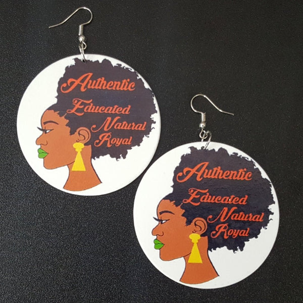 Authentic Educated Natural Royal Queen Statement Dangle Wood Earrings