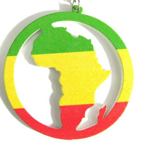 Africa Rasta Statement Dangle Wood Earrings
