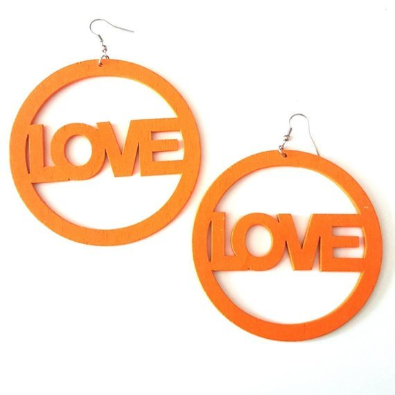LOVE Statement Dangle Wood Orange Earrings