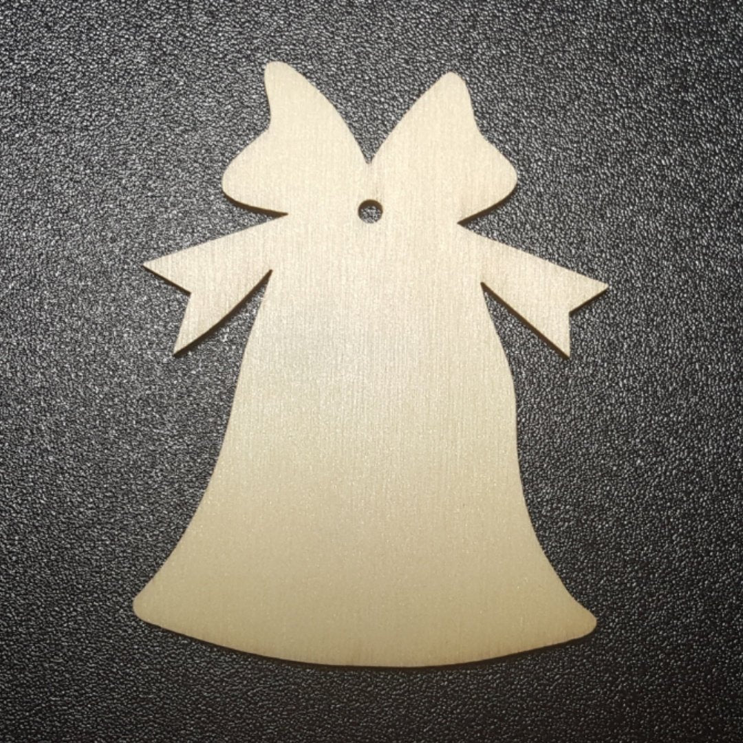 BELL with BOW Unfinished Ready to Decorate Natural Wood Cutout