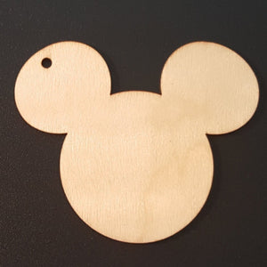 Unfinished Ready to Decorate Natural Wood Mickey Mouse Cutout DIY Wood Craft Supplies Gift Tag Wedding Favors Party Favors Wood Earrings