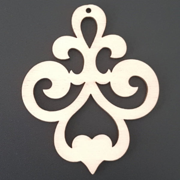 FILIGREE with Heart Unfinished Ready to Decorate Natural Wood Cutout