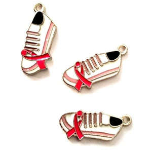 Cancer Awareness Pink Ribbon Sneaker Charms