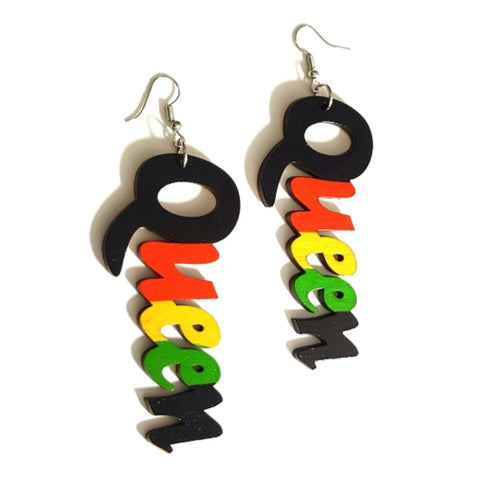 QUEEN Red Yellow Green Statement Dangle Wood Earrings