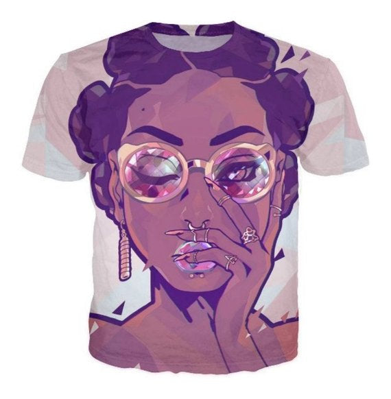 Bantu Knots Girl Graphic Print White Crew Neck Tshirt
