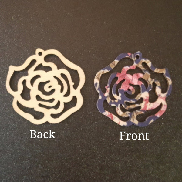 NAVY FLORAL Rose Bud Wood Cutout