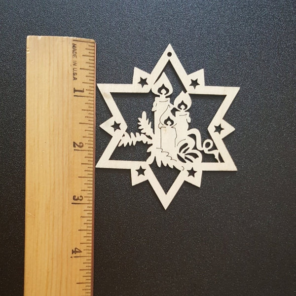 CHRISTMAS CANDLE STAR Unfinished Ready to Decorate Natural Wood Cutout