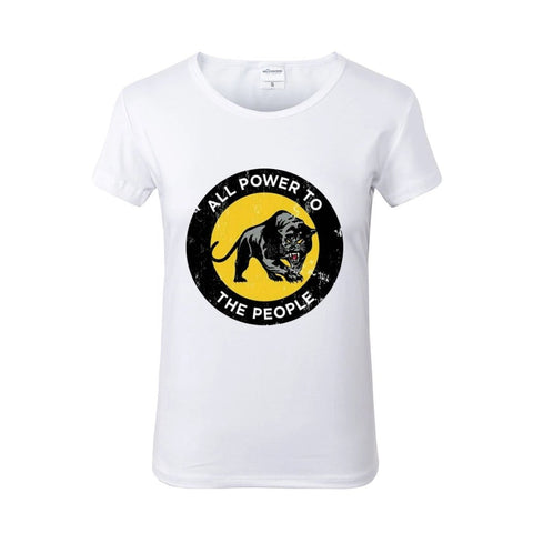 Black Panther All Power To The People White Crew Neck Tshirt