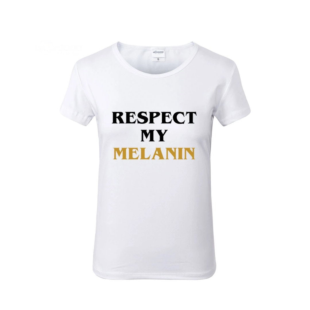 RESPECT My MELANIN White Crew Neck Tshirt