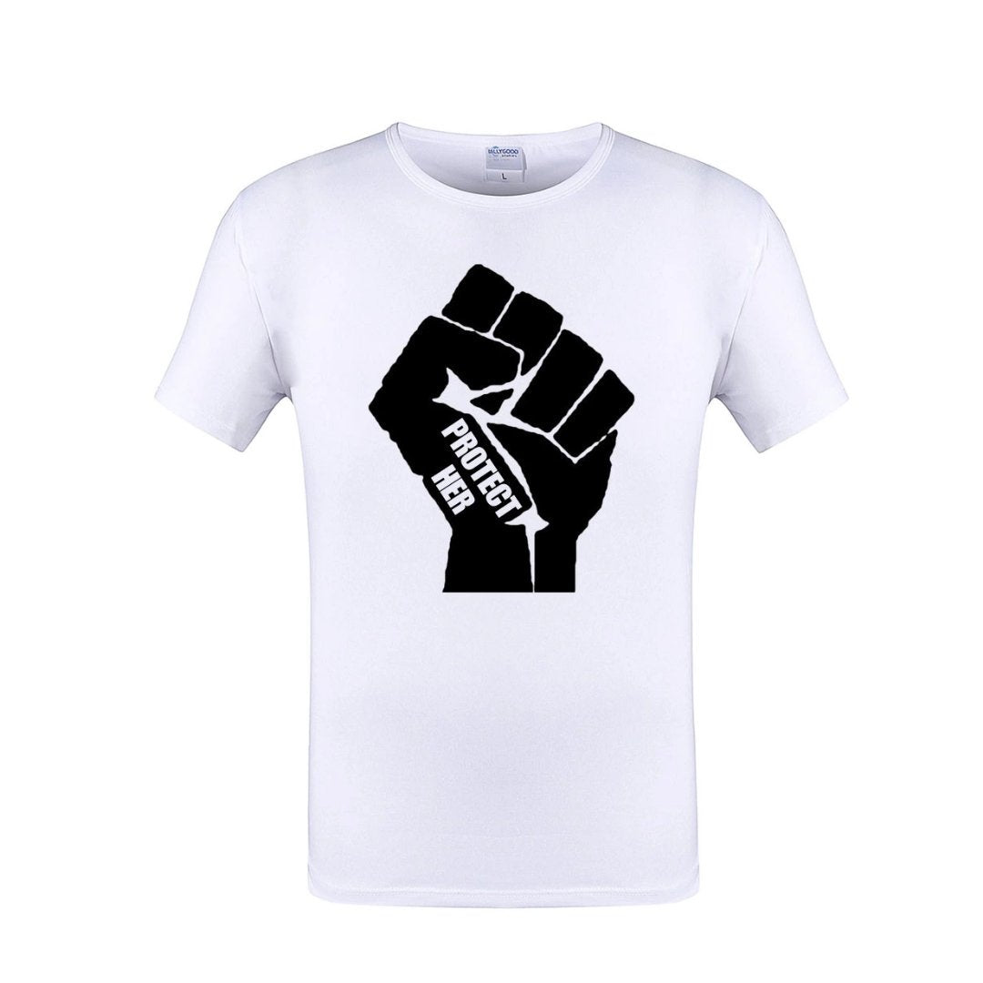 PROTECT HER Power Fist Crew Neck Unisex White Tshirt