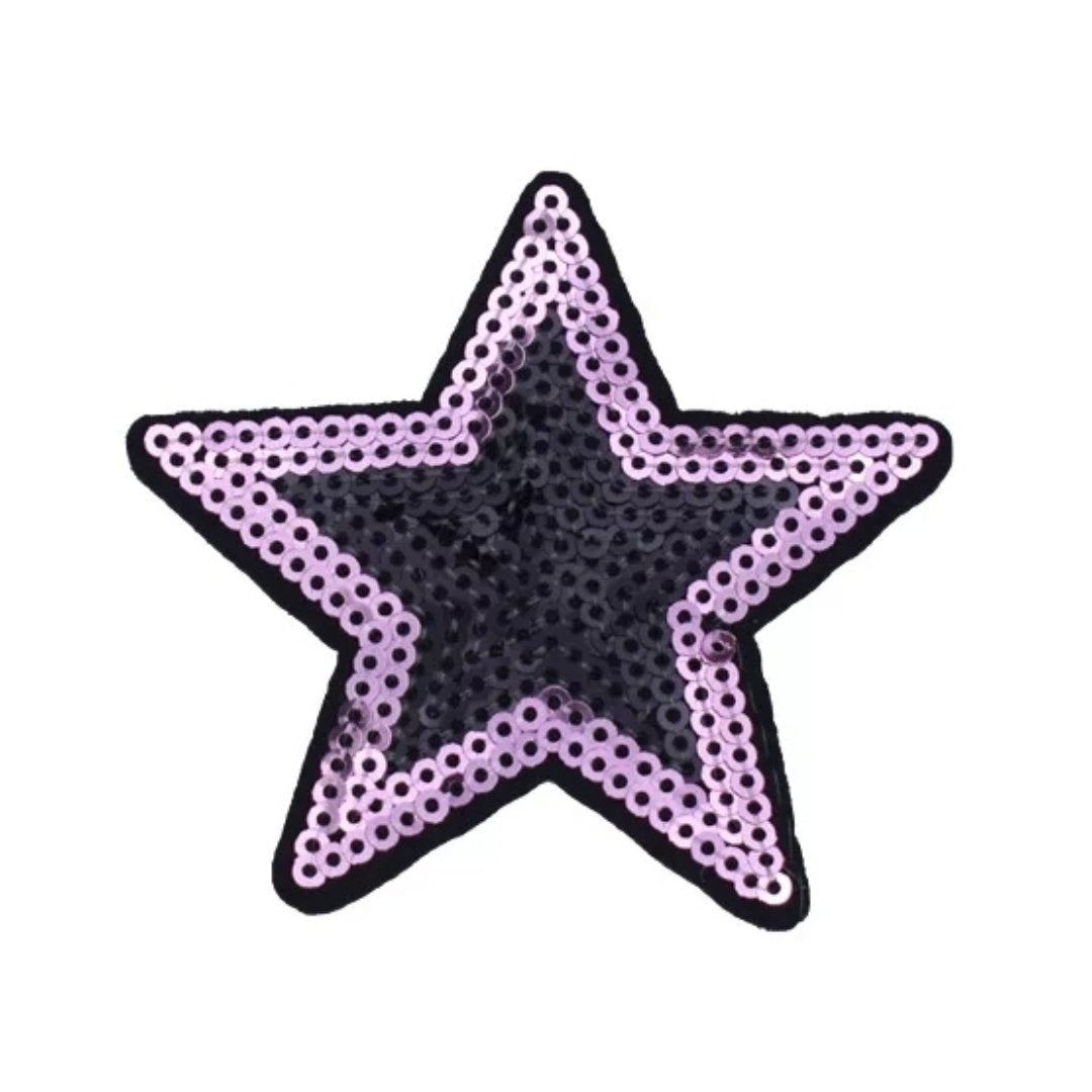 Pink Black Sequin Star Iron-On Patch