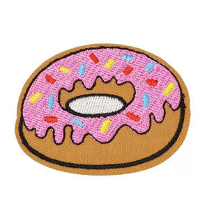 Pink Frosted Rainbow Sprinkle Donut Iron-On Patch