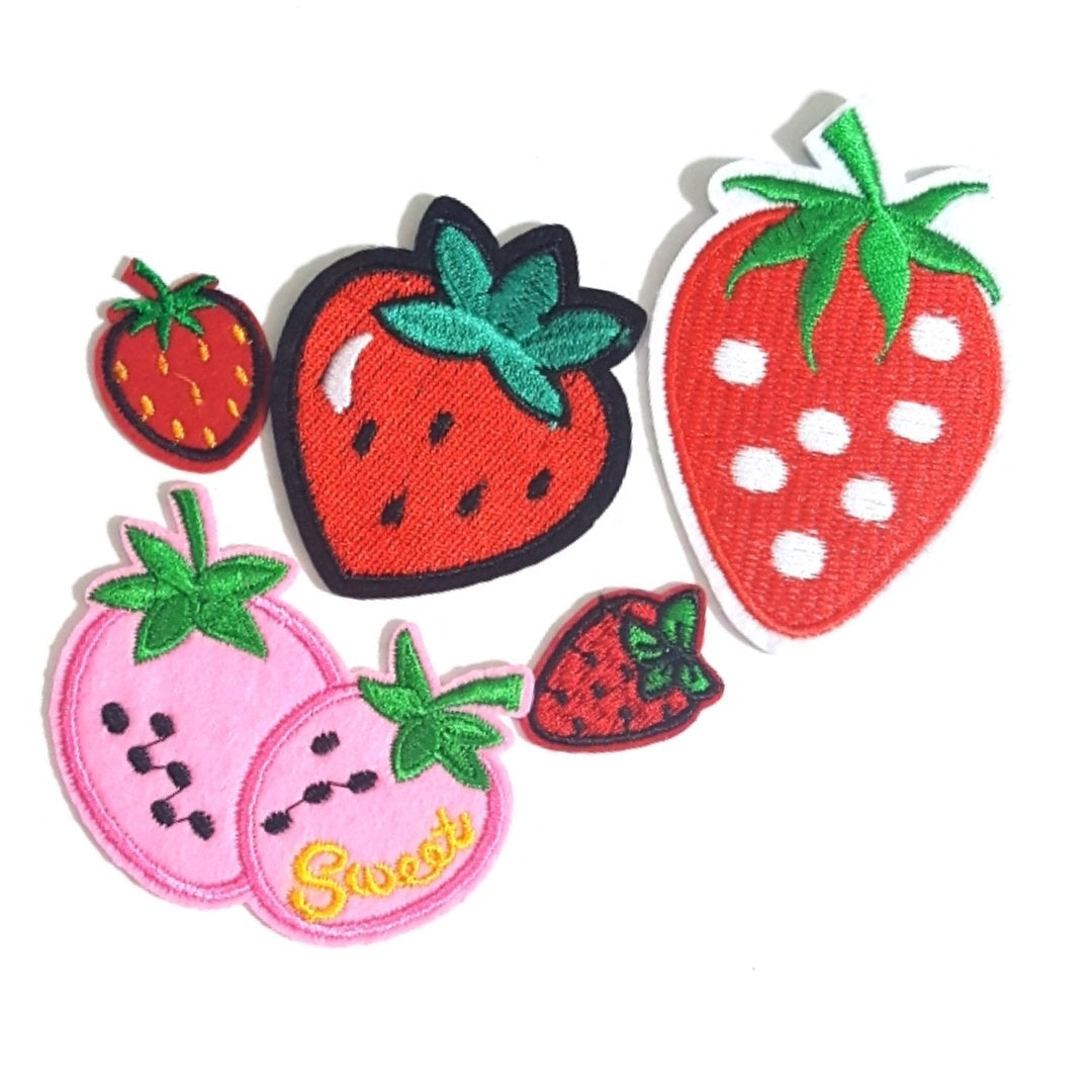 Cute red strawberry diy applique embroidered sew iron on patch stb.