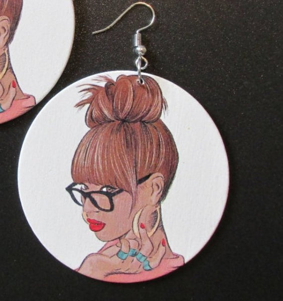 Educated Women Rock Statement Dangle Wood Earrings
