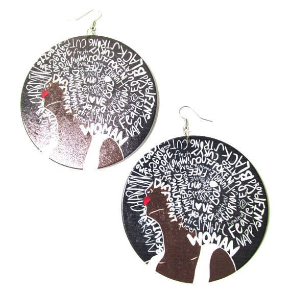 Black Strong Beautiful Woman Statement Dangle Wood Earrings