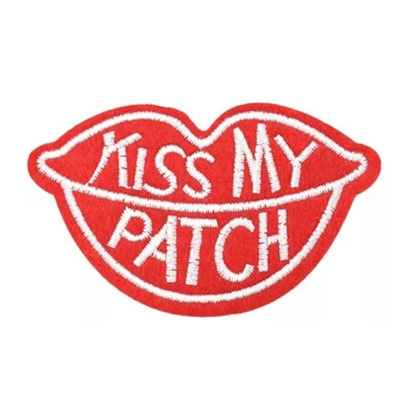 Red Lip Kiss My Patch Iron-On Patch