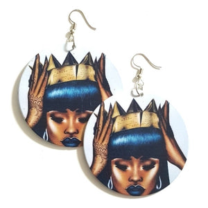 Black Queen Gold Crown Statement Dangle Wood Earrings