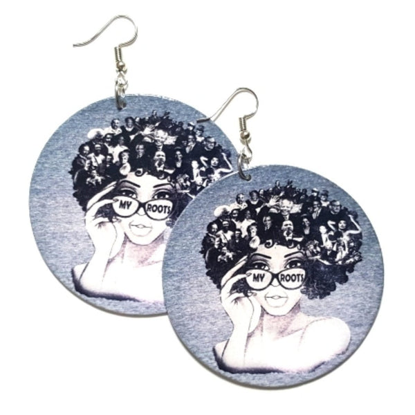 MY ROOTS Statement Dangle Wood Earrings
