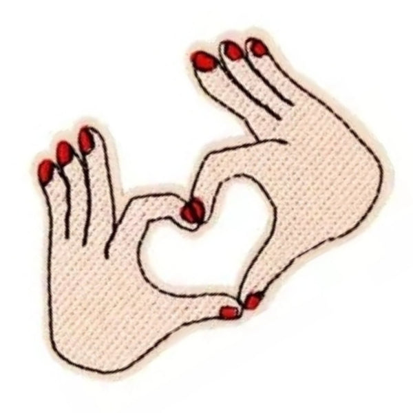 I Heart You Hand Symbol Iron-On Patch