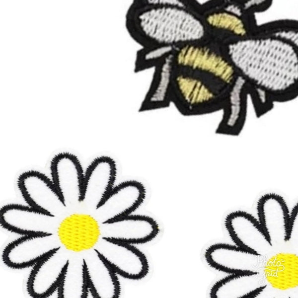 Daisies and Bee Iron-On Patches