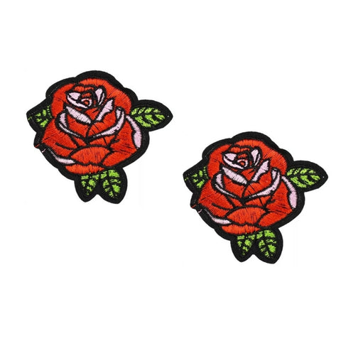 Red Rose Iron-On Patches