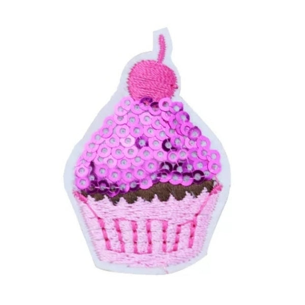 Pink Sequin Cupcake Iron-On Patches