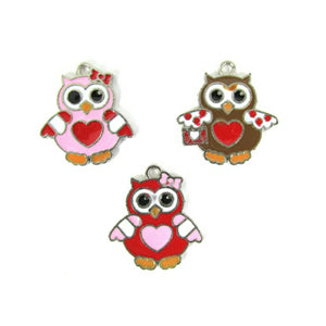 Valentines Day Owl Charms