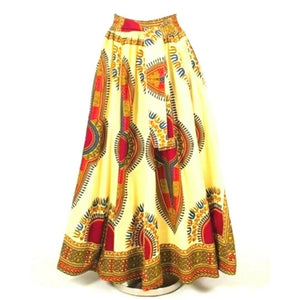 Natural Red Traditional Print African Maxi Skirt with Matching Headwrap