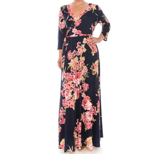 Janette Fashion Cherry Blossom Faux Wrap Evening Plussize Maxi Dress