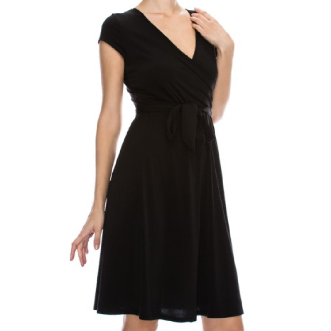 Black Solid Faux Wrap Knee Length Cap Sleeve Dress