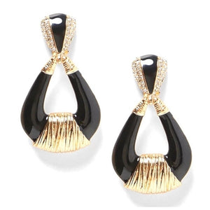 Wrapped Gold Tone Teardrop Dangle Fashion Jewelry Earrings