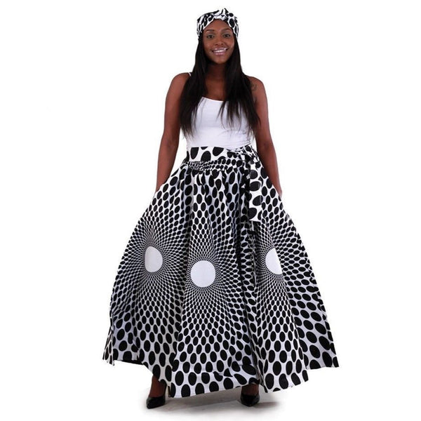 African Black White Print Maxi Skirt with Matching Headwrap