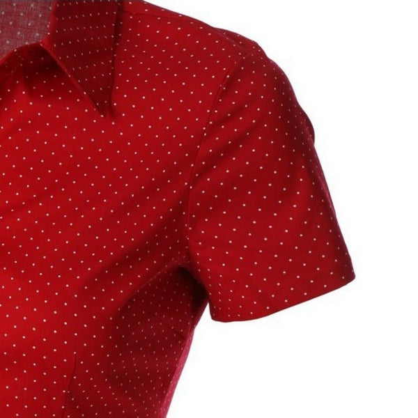 2Sable Red Polka Dot Short Sleeve Button Down Casual Plussize Top