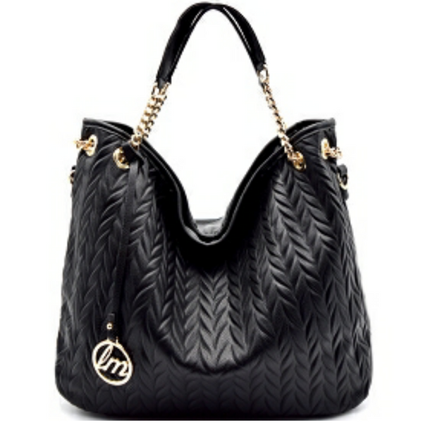 Le Miel Knit Pattern Detail Vegan Leather Hobo Handbag