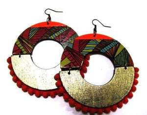 Orange Handmade Multi Color Statement Dangle Wood Earrings