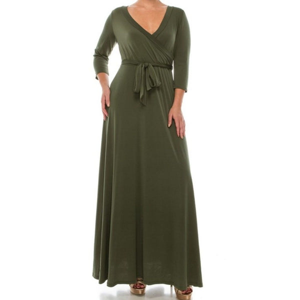 Janette Fashion Olive Green Faux Wrap 3/4 Sleeve Maxi Dress
