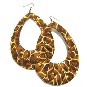 OOAK Animal Print Fabric Wrapped Teardrop Handmade Dangle Earrings