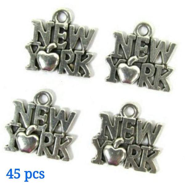 New York Apple Necklace Earring Bracelet Charms - Set of 45