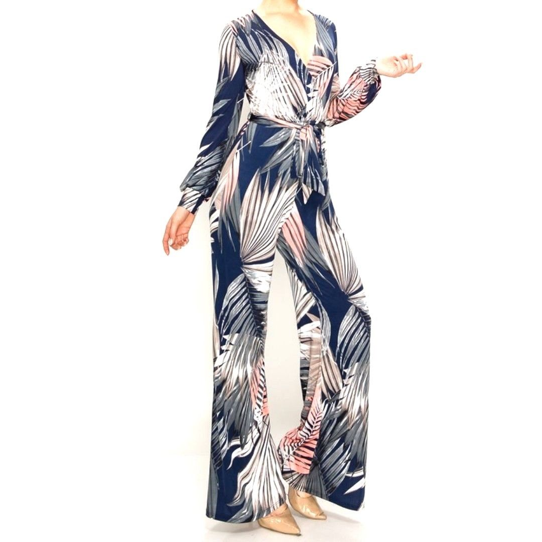 Blush Navy Palm Leaves Long Bell Sleeve Jumpsuit