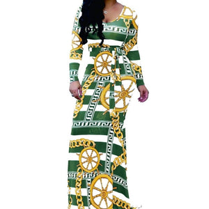 KN Green Stripe Jeweled Pattern Long Sleeve Maxi Dress