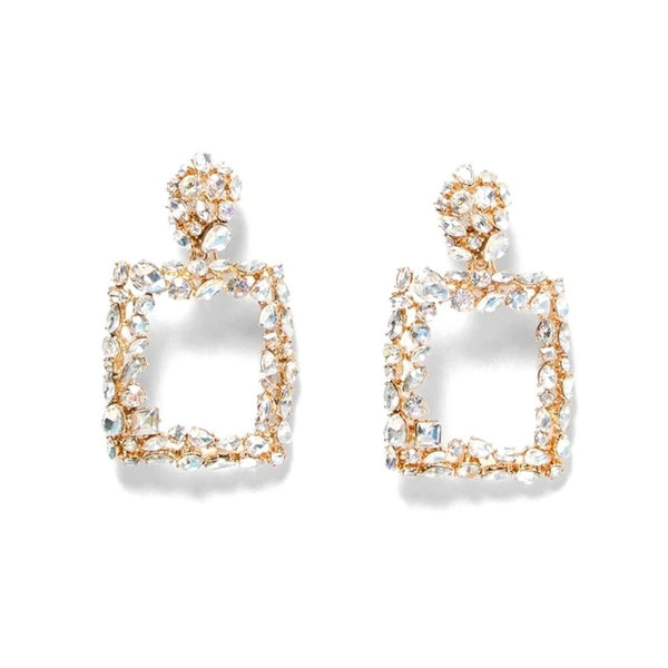 Crusted Rhinestone Square Dangle Fashion Jewelry Earrings