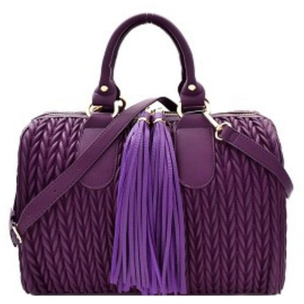 Raspberry Purple Quilted Tassel Accent Boston Satchel Crossbody Handbag