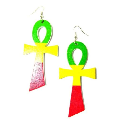 Ankh Rasta Statement Wood Dangle Drop Earrings (Green Top)