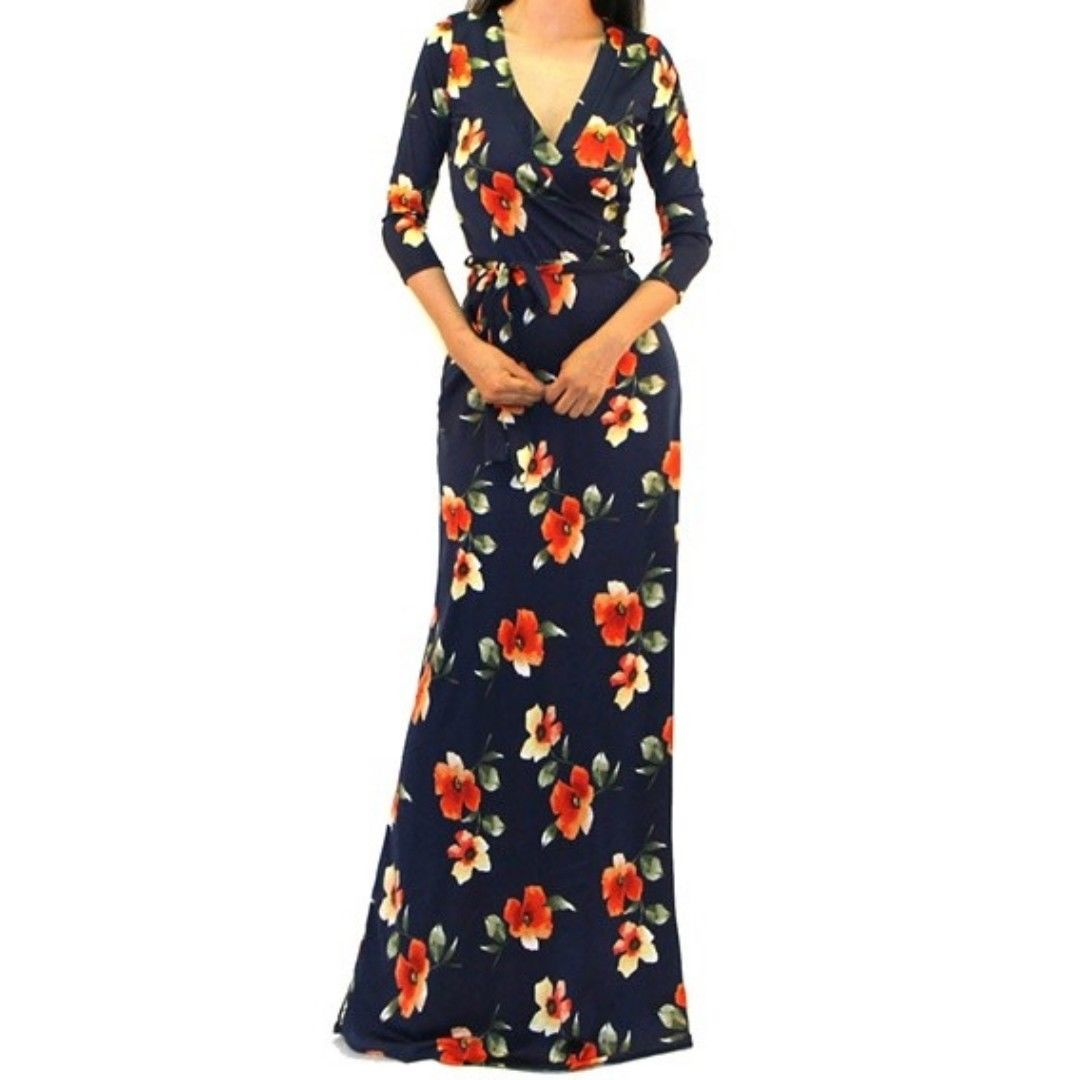 Navy Floral Faux Wrap 3/4 Sleeve Evening Casual Party Maxi Dress