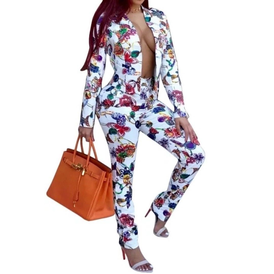 Jeweled Casual White Multi Color Pant Suit