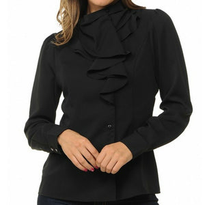 Sweet Habit Black Ruffle Long Sleeve Button Down Casual Blouse